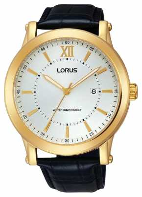 lorus mens black leather white rh883bx9