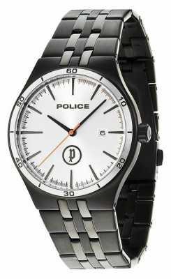 Police Mens Black IP Steel, Silver Dial Watch 14440JSBS/04M