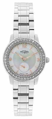 Rotary Womens, Cambridge, Pearl Dial, Crystal Watch LB02700/41