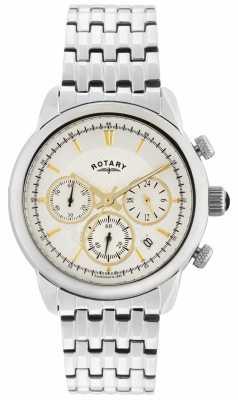 Rotary Mens Monaco, Steel, Gold Detail Chrono GB02876/02