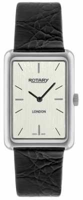 Rotary Mens London Steel Rectangle Dial Black Leather Watch GS90989/32
