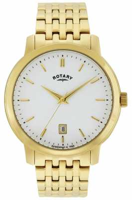 Rotary Mens Sloane, Gold Plate, White Dial Watch GB02462/01