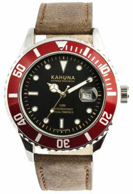 Kahuna Mens Brown Leather Strap Watch KUS-0101G