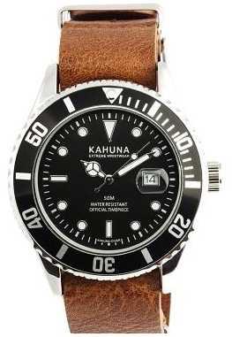 Kahuna Mens Brown Leather Strap Watch KUS-0110G