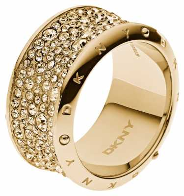 DKNY Womens Stone Set Gold PVD plated Ring Size P NJ2019040508