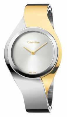 Calvin Klein Womens Senses, Two Tone, Gold & Steel Medium Watch K5N2M1Y6