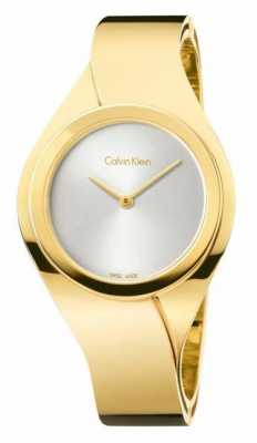 Calvin Klein Womens Senses, Gold Plate, Silver Dial Watch K5N2M526