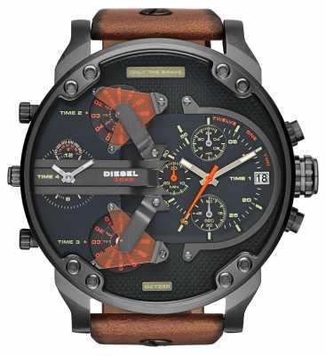 Diesel Mens Mr Daddy 2.0 Black Dial Brown Leather Strap Chrono DZ7332