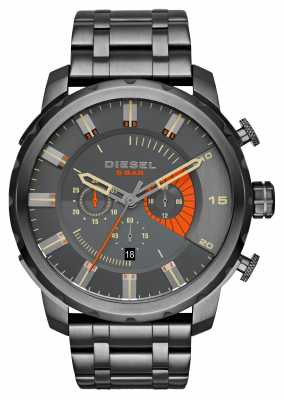Diesel Mens Stronghold Gunmetal Orange Accent Chrono DZ4348