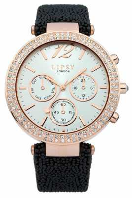 Lipsy Ladies Gold and PU Black Leather Strap Watch LP319