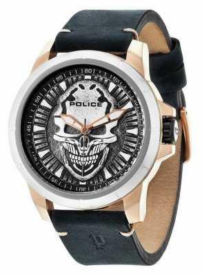Police Herren schwarze Leder analoge Uhr des Quarzes 14385JSRS/57