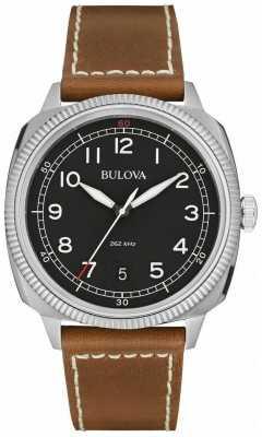 Bulova Mens Military UHF Black Brown Watch 96B230