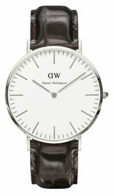Daniel Wellington Mens Classic York 40mm Silver Leather Strap DW00100025
