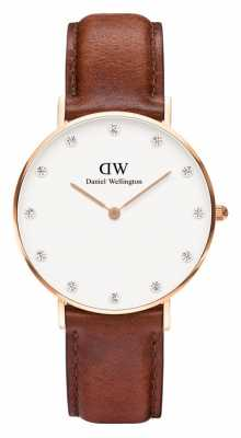 Daniel Wellington Womens Classy St Mawes 34mm Rose Gold Brown DW00100075