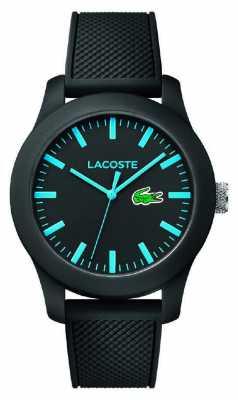 Lacoste Mens 12.12 black silicone strap black dial 2010791
