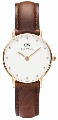 Daniel Wellington Womens Classy St Mawes 26mm Rose Gold Brown DW00100059