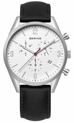 Bering White Dial, Black Leather Strap Chrono 10542-404