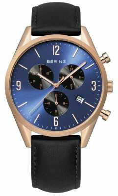 Bering Mens Rose Gold, Blue Dial, Black Leather 10542-567