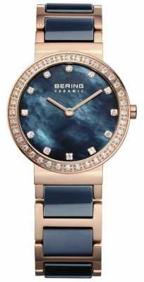Bering Womens Pearl, Blue & Rose Gold, Crystal 10729-767