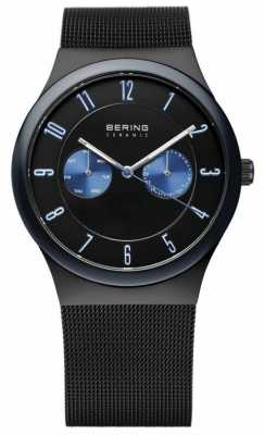 Bering Mens Black Ceramic, Mesh Strap, Blue Accent 32139-227
