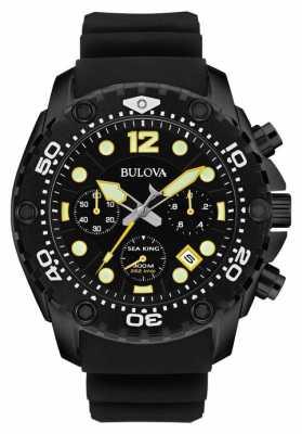 Bulova Mens Sea King Chronograph Black Rubber Strap 98B243