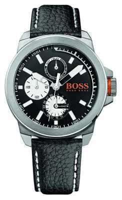 Hugo Boss Orange Mens Black Leather Strap Black Dial 1513155