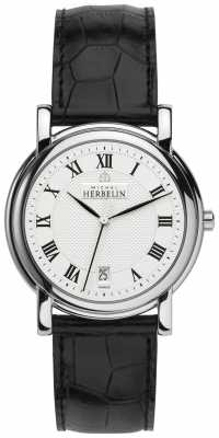 Michel Herbelin Mens White Dial, Steel, Black Leather Watch 12243/08