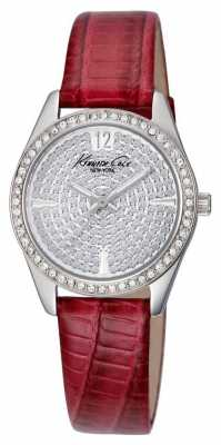 Kenneth Cole Womens Red Leather Strap Stone Set Dial KC2843