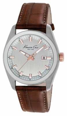 Kenneth Cole Mens Brown Leather Silver Dial KC8038