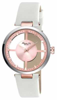 Kenneth Cole Womens White Leather Strap Rose Dial KC10022538