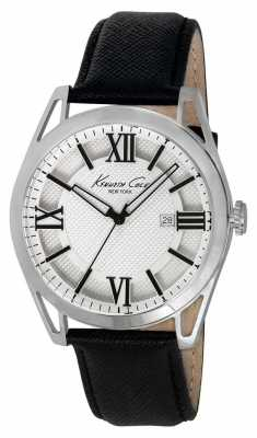 Kenneth Cole Mens Black Leather Strap White Dial KC8072