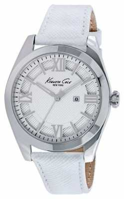 Kenneth Cole Womens White Leather Strap Silver Dial KC10021282