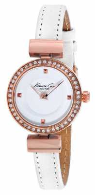 Kenneth Cole Womens White Leather White Dial KC10022302