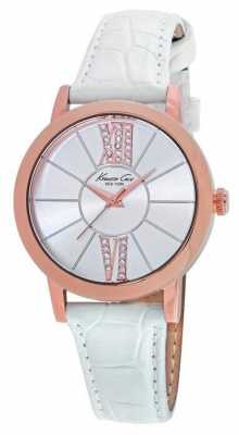 Kenneth Cole Womens White Leather Silver Dial KC10020847
