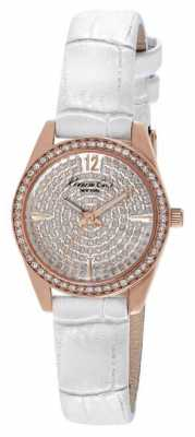 Kenneth Cole Womens White Leather Strap Stone Set Dial KC2844