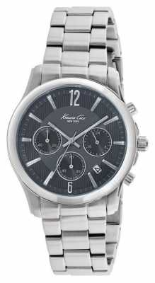 Kenneth Cole Mens Stainless Steel Chronograph Black Dial KC10022070