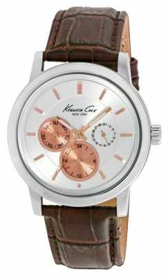 Kenneth Cole Mens Brown Leather Strap Silver Dial KC10019564