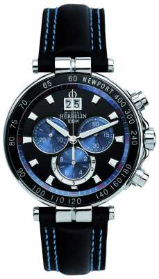 Michel Herbelin Mens Newport Yacht Club, Black, Blue 36655/AN65