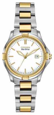 Citizen Womens Two Tone Bracelet Cream Dial Eco-Drive Watch EW1964-58A