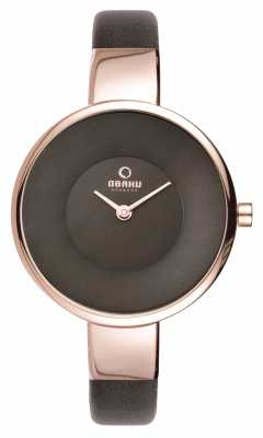 Obaku Womens Black Leather Strap PVD Rose Gold V149LXVNRN