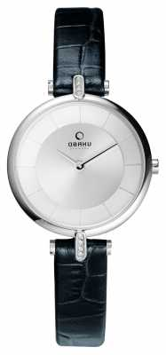 Obaku Womens Leather Black Strap Silver Dial V168LECIRB