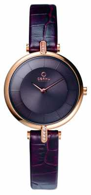 Obaku Womens Brown Leather Strap PVD Rose Gold Case V168LEVNRN