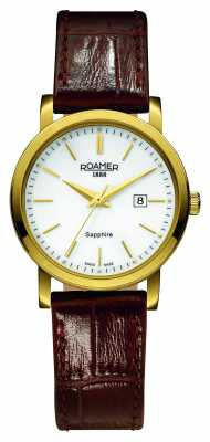 Roamer Womens Classic Line Brown Leather PVD Case 709844482507