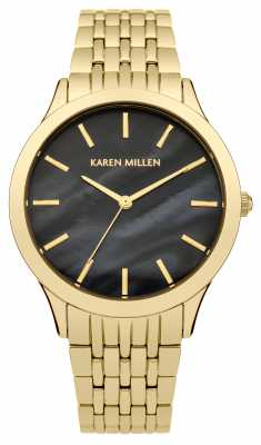 Karen Millen Womens PVD Gold Plate Black Mother Of Pearl KM106BGM