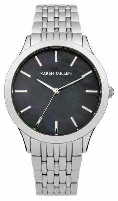 Karen Millen Womens Stainless Steel Black Mother Of Pearl KM106BM