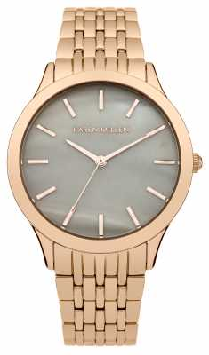 Karen Millen Womens Rose Gold PVD Plated Mother Of Pearl KM106ERGM
