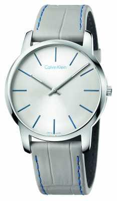 Calvin Klein Mens City Grey Leather Strap Silver Dial K2G211Q4