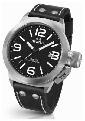 TW Steel Mens Canteen 45mm Black Leather Strap CS1