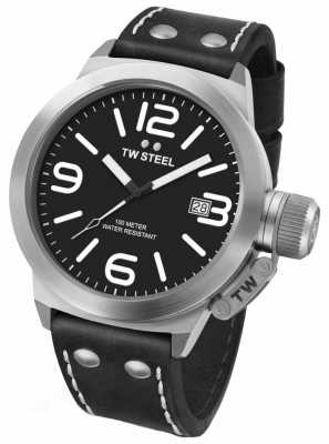 TW Steel Mens Canteen 50mm Black Leather Strap CS2