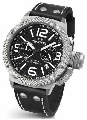 TW Steel Mens Canteen 50mm Chrono Black Leather Strap CS4